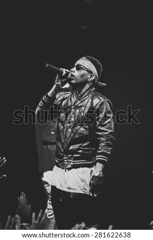 MOSCOW - 26 OCTOBER, 2014 : Rap singer Kid Ink performing live at RED Club in Russia  - stock photo
