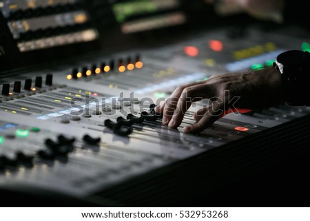 MOSCOW - 6 OCTOBER2016  Sound technician and lights technicians control the music show & Someone Sliding Large Music Mixers Slider Stock Photo 97532153 ... azcodes.com