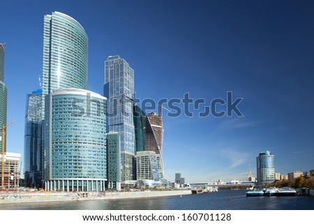MOSCOW - OCTOBER 13: The Moscow International Business Center (MIBC), Moscow-City on October 13, 2013 in Moscow. Located near the Third Ring Road, the Moscow-City area is currently under development
