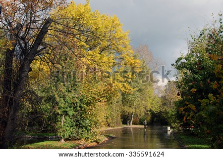 MOSCOW - OCTOBER 08, 2015: View of Kuskovo park in Moscow. A popular touristic landmark and place for walking.