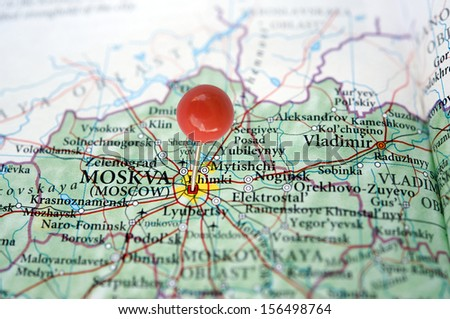 Moscow on a map with a red pin - stock photo