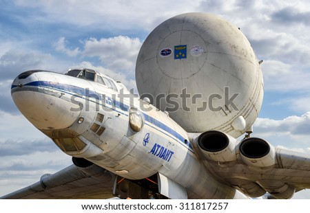 MOSCOW REGION - AUGUST 28, 2015: The Soviet strategic-airlift airplane Myasishchev VM-T Atlant at the International Aviation and Space Salon (MAKS). The VM-T was modified to carry the space shuttles.