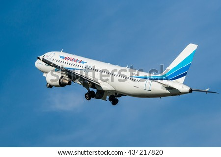 Moscow region, Domodedovo, Russia - August 18, 2013: Airbus A320 VP-BHZ Yamal Airlines take off at Domodedovo international airport