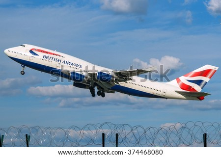 Moscow region, Domodedovo, Russia - August 18, 2013: Boeing 747-400 British Airways G-CIVF take off at Domodedovo international airport - stock photo