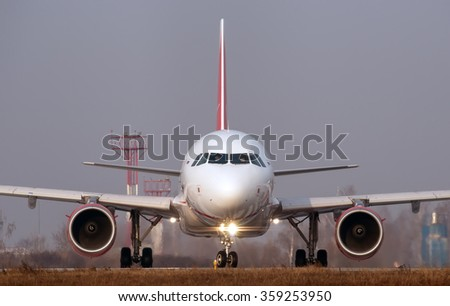 Moscow region, Domodedovo, Russia - November 04, 2014: Airbus A320 A6-ANQ Air Arabia taxiing for take off at Domodedovo International airport.