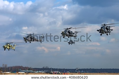 "MOSCOW REGION, RUSSIA - APRIL 20, 2016: Russian Air Force Mi-28 ""Havoc"" attack helicopter climbing out of the Kubinka airbase to training flight for the Great Victory Day military parade"