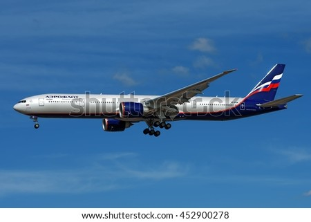 MOSCOW REGION, RUSSIA - CIRCA MARCH, 2016: Aeroflot Russian Airlines Boeing B-777 VQ-BQM named after Turgenev widebody passenger aircraft landing in great afternoon light detail exterior view
