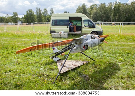 MOSCOW REGION, RUSSIA - JULY 15, 2015: Radio control plane in the field