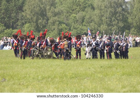 MOSCOW REGION, RUSSIA - MAY 27: Unidentified soldiers defends themselves during 200 unniversary re-enactment of the Borodino battle in 1812. May 27, 2012 in Borodino, Russia
