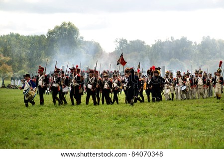 MOSCOW REGION, RUSSIA - SEPTEMBER 05: Reenactment of the Borodino battle between Russian and French armies in 1812. soldiers of Napoleon's army. Borodino, Russia, September 05, 2011 - stock photo