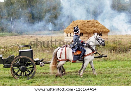 MOSCOW REGION, RUSSIA - SEPTEMBER 04: Unknown soldiers at Borodino historical reenactment battle between Russian and French armies in 1812 on September 04, 2011 in Borodino, Moscow Region, Russia.