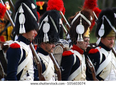 MOSCOW REGION-SEPTEMBER 04: Unidentified soldiers at Borodino historical reenactment battle between Russian and French armies in 1812. Taken on September 04, 2011 in Borodino, Moscow Region, Russia.