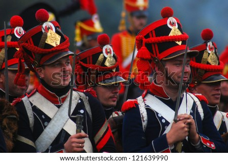 MOSCOW REGION - SEPTEMBER 02: Unknown smiling soldiers portrait. Borodino historical reenactment battle at its 200th anniversary on September 02, 2012 in Borodino, Moscow Region, Russia.