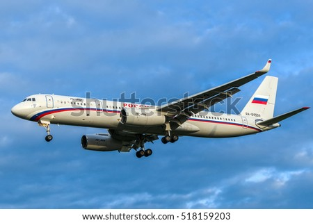 Moscow region, Vnukovo, Russia - June 18, 2013: Soviet pasenger airplane Tupolev Tu-214 RA-64504 of Russia State Transport Company landing at Vnukovo International airport..
