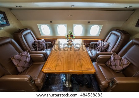 Moscow region, Vnukovo, Russia - September 09, 2016: The interior of private jet Airbus ACJ319 OE-LJG shown during Jetexpo-2016 at Vnukovo international airport.