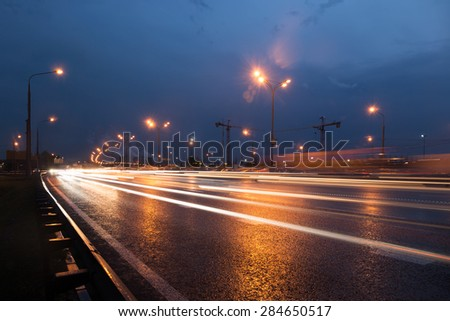 Moscow Ring Road at evening with light trails
