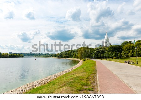 Moscow River and Church of the Ascension in Kolomenskoye, Moscow, Russia  - stock photo