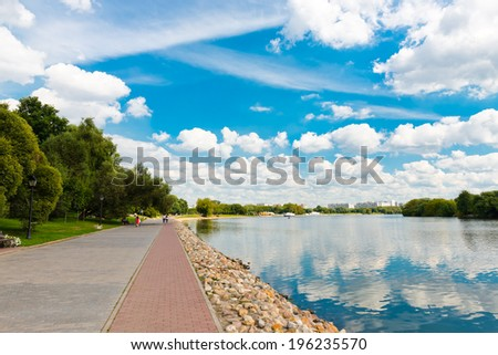 Moscow River and  in Kolomenskoye, Moscow, Russia  - stock photo