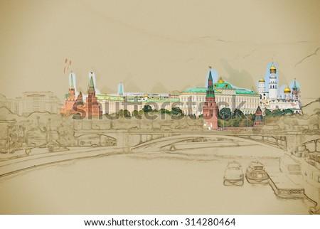 Moscow River and the Kremlin. The Moscow Kremlin is the main attraction of the Russian capital.Travel background illustration. Painting with watercolor and pencil. Brushed artwork. - stock photo