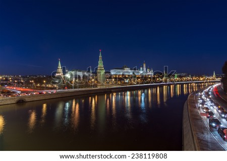Moscow river at night. Kremlin view from the Big Stone Bridge at Sofia Embankment - stock photo