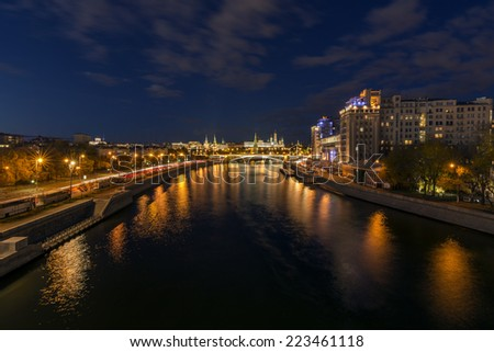 Moscow River at night. The Kremlin is seen after a Large Stone bridge
