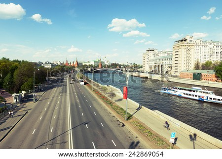 Moscow river embankment. View of the Moscow Kremlin and the Variety Theatre - stock photo