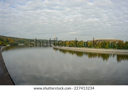 Moscow River embankment. View of the river and the pedestrian zone - stock photo