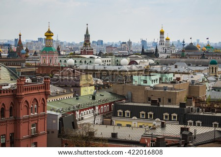 Moscow, Russia. Above view from observation deck in Central Children's World on historical center of Moscow - stock photo