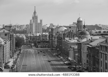 Moscow, Russia. Above view from observation deck in Central Children's World on historical center of Moscow