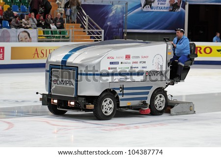 "MOSCOW, RUSSIA - APR 26: Palace of sports ""Megasport"". Preparation of ice arena for training competitions of the World championship on figure skating on April 26, 2011 in Moscow."