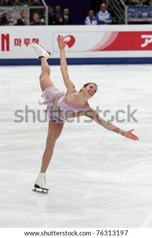 MOSCOW, RUSSIA - APR 30: World championship on figure skating 2011. Carolina Kostner - performance of the bronze medallist in single ladies free figure skating on April 30, 2011 in Moscow. - stock photo