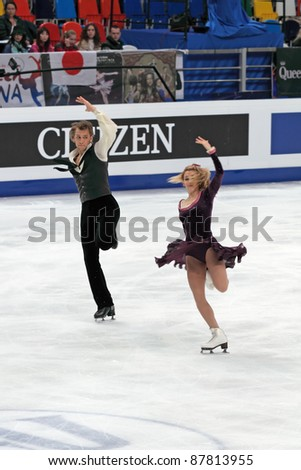 "MOSCOW, RUSSIA - APR 30: World championship on figure skating 2011. Deividas Stagniunas and Isabella Tobias in pair ice dance. Palace of sports ""Megasport"" on April 30, 2011 in Moscow."