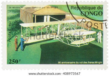 "MOSCOW, RUSSIA - APRIL 15, 2016: A stamp printed in Congo shows 2nd model biplane Wright brothers, series ""The 90th Anniversary of the First Powered Flight by the Wright Brothers"", circa 1993"