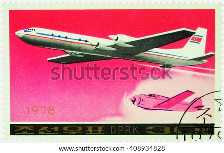 "MOSCOW, RUSSIA - APRIL 10, 2016: A stamp printed in DPRK (North Korea) shows soviet passenger aircraft Ilyushin Il-18 and old airplane, series ""Airplanes"", circa 1978 - stock photo"