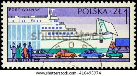 """MOSCOW, RUSSIA - APRIL 25, 2016: A stamp printed in Poland shows Marine Station with people and cars in Polish Harbour Gdansk, series """"Polish Harbours"""", circa 1976 - stock photo"""