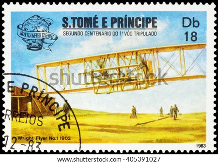 "MOSCOW, RUSSIA - APRIL 14, 2016: A stamp printed in Sao Tome and Principe shows Vickers Vimy biplane during first transatlantic flight (1919), series ""The 200th Anniversary of Aviation"", circa 1983"