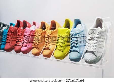 Moscow, Russia - April 19, 2015: Adidas Originals sneakers in a shoe store in Moscow. Adidas, the German industrial group specializing in the production of sports shoes, clothing and ekuipment - stock photo