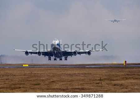 Moscow, Russia - April 16, 2015: Boeing 747-400 Air Bridge Cargo VQ-BHE take off from the Moscow Sheremetyevo International airport.