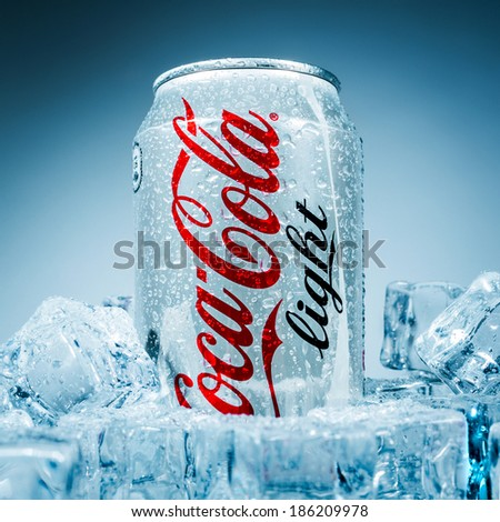 MOSCOW, RUSSIA-APRIL 4, 2014: Can of Coca-Cola Lignt on ice. Coca-Cola is a carbonated soft drink sold in stores, restaurants, and vending machines throughout the world. - stock photo