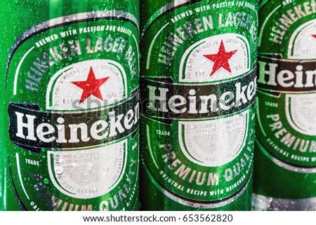 Moscow, Russia - April 13, 2017: Heineken beer global brand. Heineken Lager Beer is the flagship product of Heineken