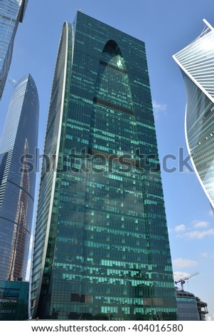 MOSCOW, RUSSIA - APRIL 8, 2016: Imperia Tower (Empire business high-rise) in Moscow is 60-floor building complex that includes offices, business center, hotel and private apartments - stock photo