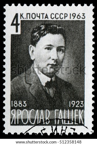 Moscow, Russia- April 29, 1963: Jaroslav Hasek(1883-1923), Czech writer, humorist, satirist, journalist, bohemian and anarchist. Best known for novel The Good Soldier Svejk, Stamp issued in 1963.