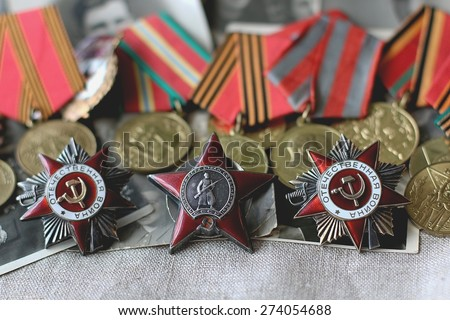 MOSCOW, RUSSIA - APRIL 25, 2015: Memory feat, awards and medals of World War II and Great Patriot War orders on april 25, 2015 in Moscow, Russia