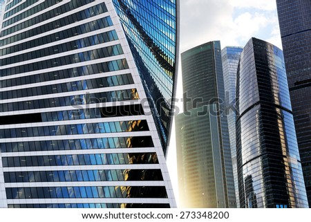 MOSCOW, RUSSIA - APRIL 7: modern skyscrapers of  Moscow City - the biggest business center in capital of Russia on April 7, 2015. Offices of different companies and banks are located in Moscow City.