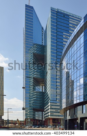 MOSCOW, RUSSIA - APRIL 8, 2016: Moscow International Business Center is expected to become first zone in Russia to combine business activity, living space and entertainment in one single development