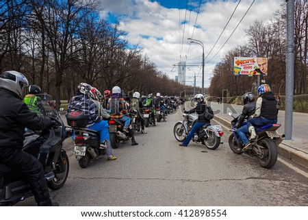 Moscow, Russia - April 23, 2016: Motorcyclists open the spring season. The group of motorcyclists on the road. Russian riders.