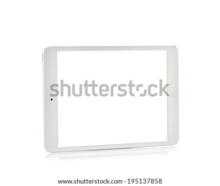MOSCOW, RUSSIA - APRIL 12 , 2014: Photo of a brand iPad mini. iPad mini. is a tablet developed by Apple Inc. - stock photo