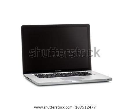 MOSCOW, RUSSIA - APRIL 24 , 2014: Photo of a MacBook Pro.  MacBook Pro is a laptop developed by Apple Inc.