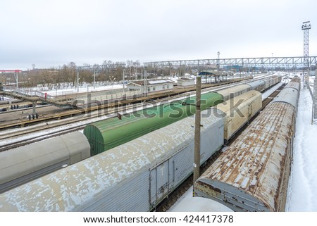 MOSCOW,RUSSIA - APRIL 03  2016 Railway station in Russia and freight and passenger trains