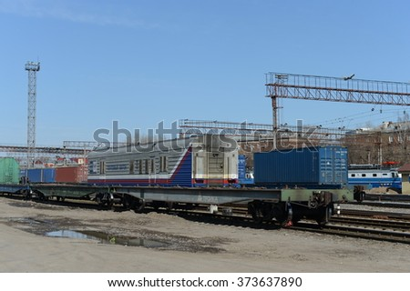 MOSCOW, RUSSIA - APRIL 8, 2014: Railway station Moscow-Passenger-Paveletskaya.